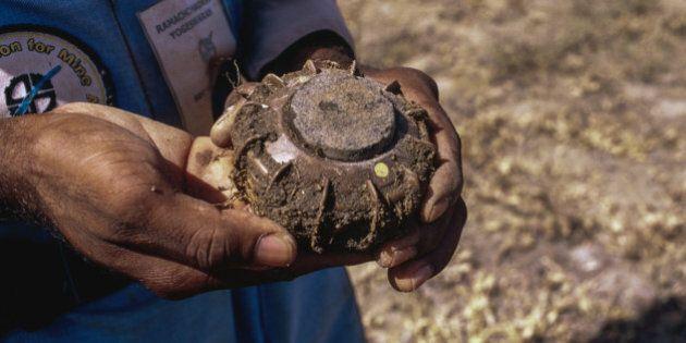 Sri Lankan minesweeper holding a TS-50 Anti-Personnel  landmine  in a mine field in Jaffna, Northern district.
