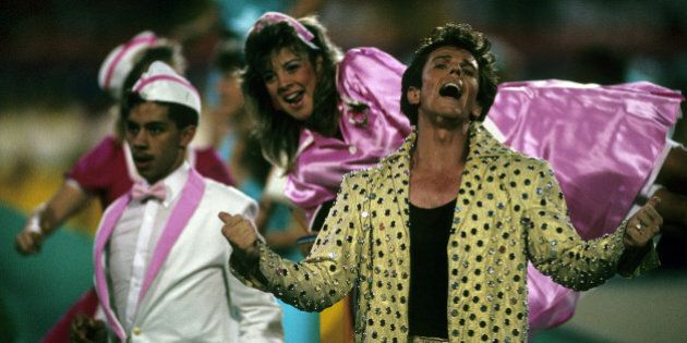 Elvis Presto performs during the halftime extravaganza of the San Francisco 49ers 20-16 victory over the Cincinnati Bengals in Super Bowl XXIII on January 22, 1989 at Joe Robbie Stadium in Miami, Florida. (Photo by Rob Brown/Getty Images) *** Local Caption ***