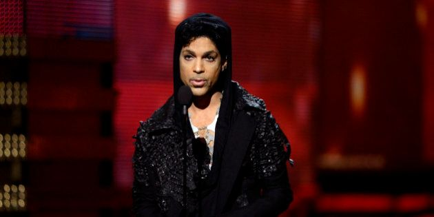 LOS ANGELES, CA - FEBRUARY 10: Musician Prince speaks onstage at the 55th Annual GRAMMY Awards at Staples...