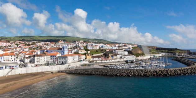 General view of town and harbour, Angra do Heroismo, Terceira Island, Azores,