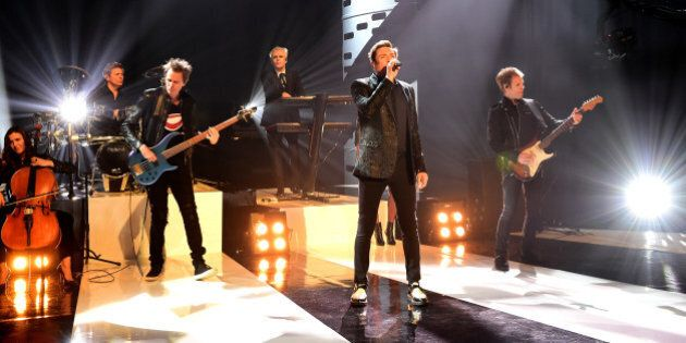 Duran Duran during filming of the Graham Norton Show at The London Studios, south London, to be aired on BBC One on Friday evening.