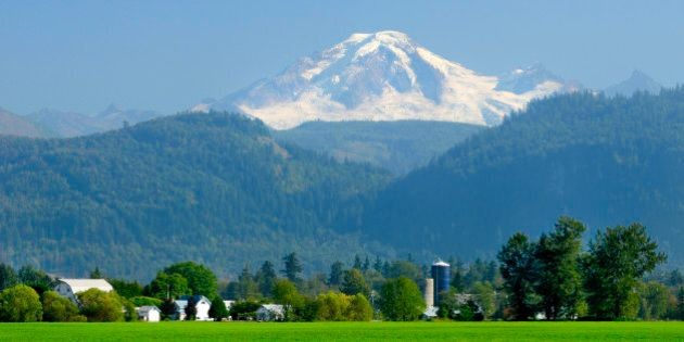 Farms, barns and silo's with Mt. Baker in the background, Abbotsford, British Columbia,