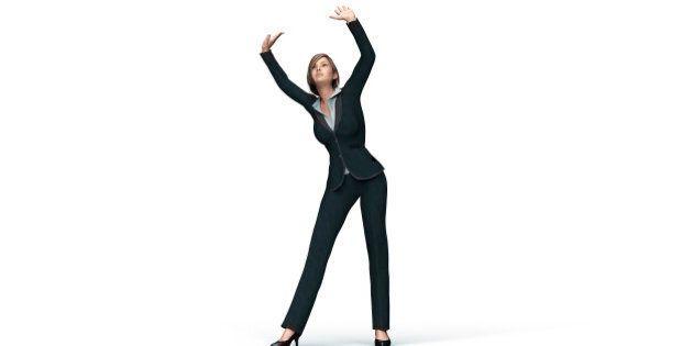 business woman under virtual glass ceiling, 3d