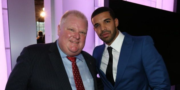 TORONTO, CANADA - SEPTEMBER 30: Toronto Mayor Rob Ford and Drake pose for a photo as it was announced the Toronto Raptors to host NBA All-Star 2016 announced during todays press conference at the Air Canada Centre on September 30 , 2013 in Toronto, Ontario, Canada.  NOTE TO USER: User expressly acknowledges and agrees that, by downloading and or using this Photograph, user is consenting to the terms and conditions of the Getty Images License Agreement.  Mandatory Copyright Notice: Copyright 2013 NBAE (Photo by Dave Sandford/NBAE via Getty Images)