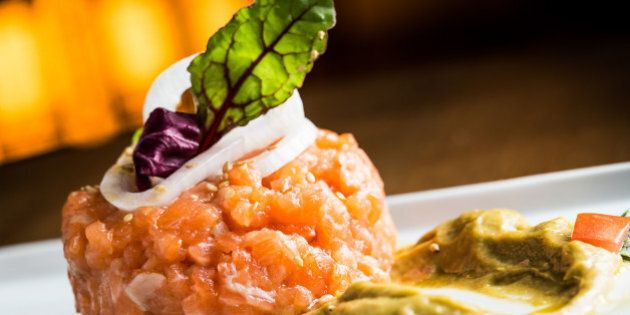 Fresh salmon tartare in a restaurant.