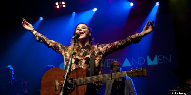 LONDON, UNITED KINGDOM - SEPTEMBER 25: Nanna Bryndís Hilmarsdóttir of the band Of Monsters And Men performs...