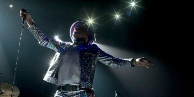TORONTO, ON - AUG. 10:   Gord Downie of The Tragically Hip performing at the Air Canada Centre in Toronto as part of the band's Man Machine Poem tour.        (Marcus Oleniuk/Toronto Star via Getty Images)