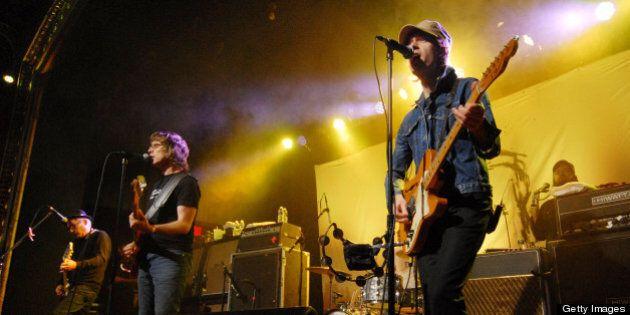 DETROIT, MI - NOVEMBER 09: (L-R) Patrick Pentland, Chris Murphy and Jay Ferguson of Sloan perform at...