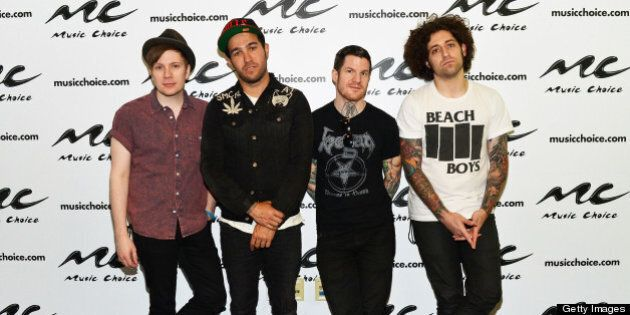NEW YORK, NY - MAY 20: 'Fall Out Boy' band members (L-R) Patrick Stump, Pete Wentz, Andy Hurley and Joe...