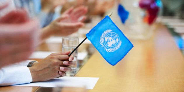 Businesswoman Holding United Nations Flag in