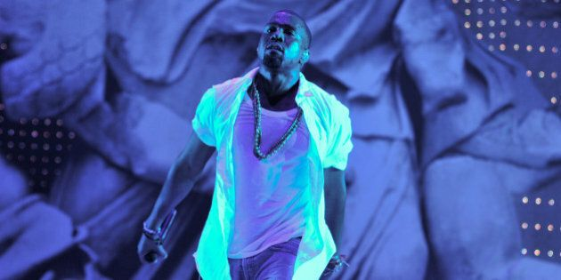 LEDBURY, ENGLAND - AUGUST 06: Kanye West performs on stage during The Big Chill Festival 2011 at Eastnor...