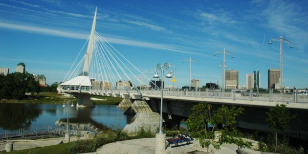 Provencher Bridge, in Winnipeg, Manitoba,