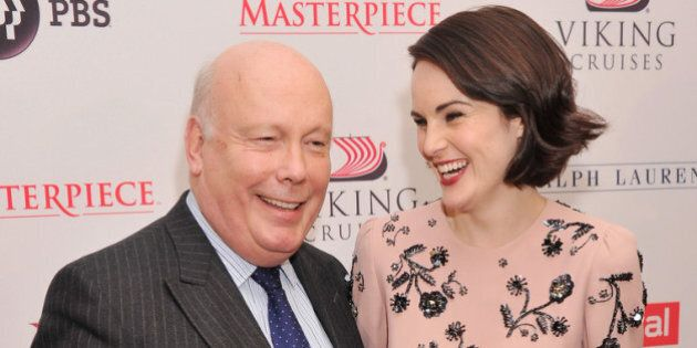 NEW YORK, NY - DECEMBER 10: Writer/executive producer Julian Fellowes and actress Michelle Dockery attend...