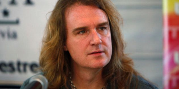 David Ellefson, member the US trash metal band 'Megadeth', looks on during a news conference in La Paz,...