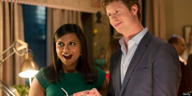 THE MINDY PROJECT -- 'Take Me With You' Episode 124-- Pictured: (l-r) Mindy Kaling as Mindy, Anders Holm...