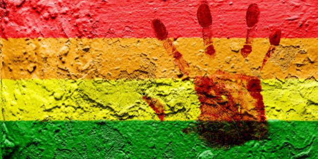 gay pride flag painted on...