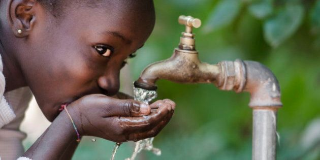 Clean Fresh Water Scarcity Symbol: Black Girl Drinking from