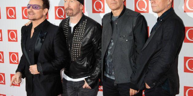 LONDON, ENGLAND - OCTOBER 24: The Edge, Bono, Adam Clayton, Larry Mullen Jr of U2 attends the Q awards...