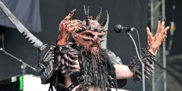 Oderus Urungus of GWAR performs on day three of the Download Festival at Donington Park on June 12, 2011...