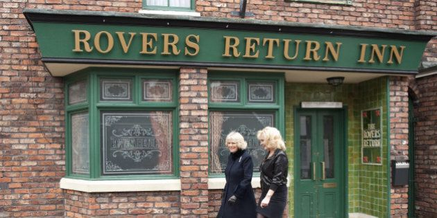 Coronation Street Actress Beverley Callard Outside The Rovers Return Inn At Granada Studios, Manchester, With Camilla, The Duchess Of Cornwall, During Her Visit To The Set As Part Of The Celebrations For The Soap's 50Th Anniversary Year. (Photo by Mark Cuthbert/UK Press via Getty Images)
