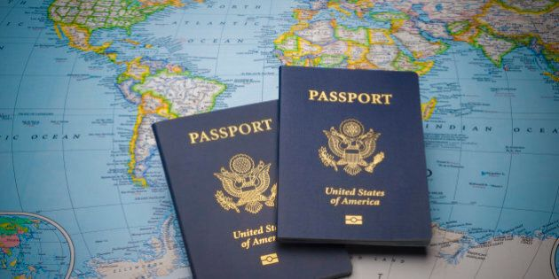 Passports on a map of the world with limited depth of