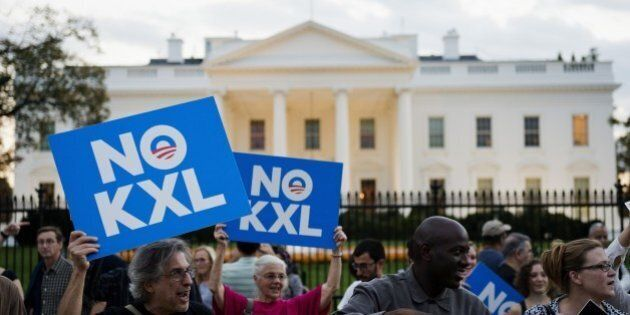Demonstrators, celebrating US President Barack Obama's blocking of the Keystone XL oil pipeline, rally...