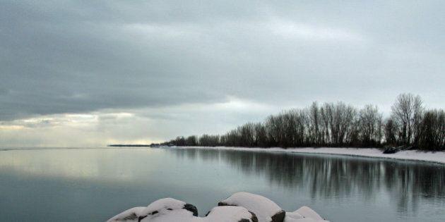 Frozen Lake Erie cove on a calm Ontario
