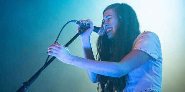 AUSTIN, TX - NOVEMBER 04: Vocalist Madeline Follin of Cults performs in concert at Emo's on November...