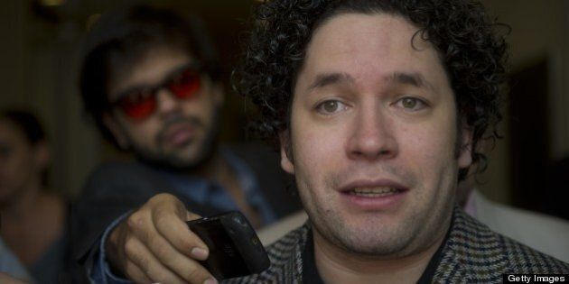 Venezuelan maestro Gustavo Dudamel speaks to reporters in Bogota on April 11, 2013. Dudamel is in Colombia...