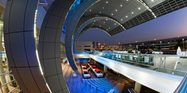 Stylish modern architecture of the 2010 opened Terminal 3 of Dubai International Airport, Dubai, UAE,...
