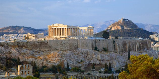 View on Acropolis at sunset, Athens,