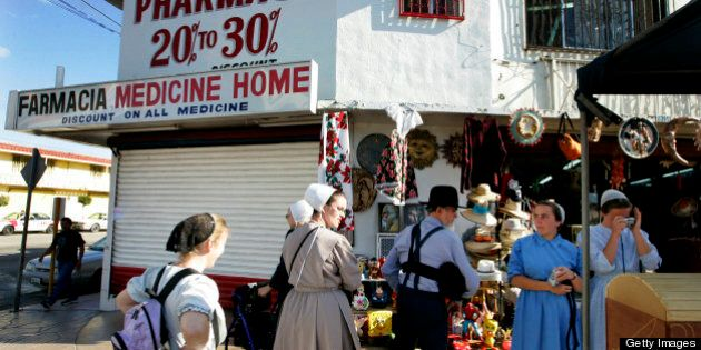 TIJUANA, MEXICO - MARCH 4:  A group of Mennonite pilgrims shop while on a visit to Tijuana, Mexico on March 4, 2009.  The U.S. Justice Department has issued a warning to travelers to avoid parts of northern Mexico due to an ongoing drug war that has claimed over 7,000 lives since January of 2007. (Photo by Sandy Huffaker/Getty Images)