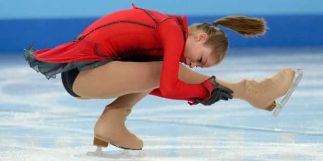 Russia's Julia Lipnitskaia performs in the Women's Figure Skating Team Free Program at the Iceberg Skating...