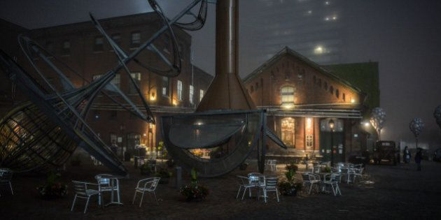 At the Distillery District in Toronto, Ontario on a foggy