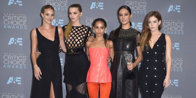 Rosie Huntington-Whiteley, from left, Abbey Lee Kershaw, Zoe Kravitz, Courtney Eaton, and Riley Keogh...