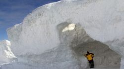 Mother Nature Gives Back: Stunning Ice Caves Form Following Months of Harsh Winter