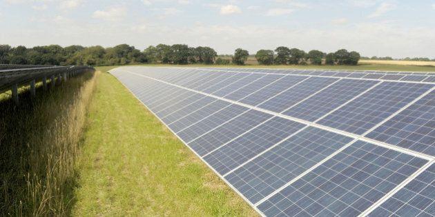 A general view of solar panels at Rudge Manor Solar Farm near Marlborough,