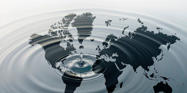 Rippling water over map of