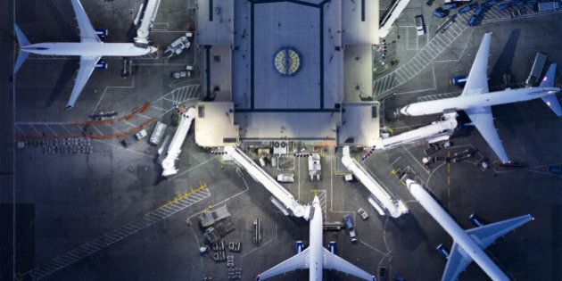 Airliners at gates and Control Tower at