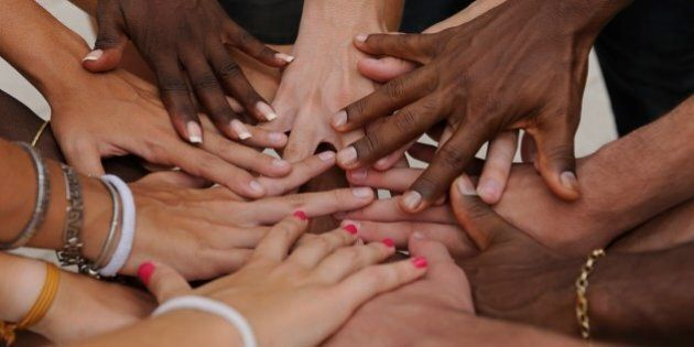 Diverse human hands showing