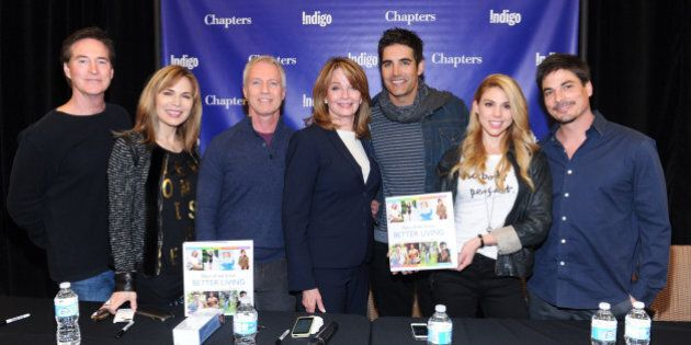 TORONTO, ON - MARCH 18:  (L-R) Drake Hogestyn, Lauren Koslow, Greg Meng, Deidre Hall, Galen Gering, Kate Mansi and Bryan Dattilo attend the 'Days Of Our Lives Better Living' Cast Member Signing on March 18, 2014 in Toronto, Canada.  (Photo by George Pimentel/WireImage)