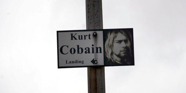 ABERDEEN, WA - APRIL 05: Sign at Kurt Cobain Memorial at Young Street bridge on April 5, 2014 in Aberdeen,...