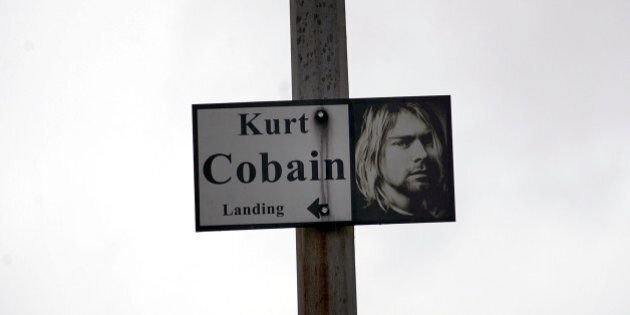 ABERDEEN, WA - APRIL 05:  Sign at Kurt Cobain Memorial at Young Street bridge on April 5, 2014 in Aberdeen, Washington.  (Photo by Dana Nalbandian/WireImage)