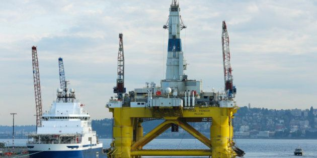 The Polar Pioneer drilling rig sits docked at the Port of Seattle, Monday, May 18, 2015, in Seattle....