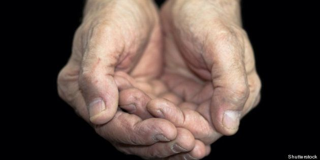 poverty. old hands on