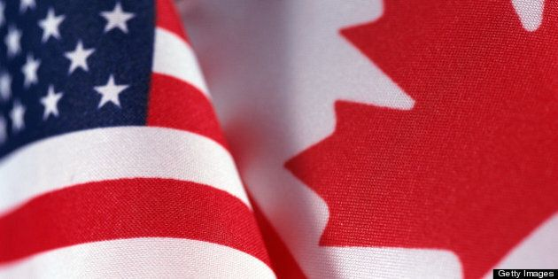 Flags of United States of America and Canada