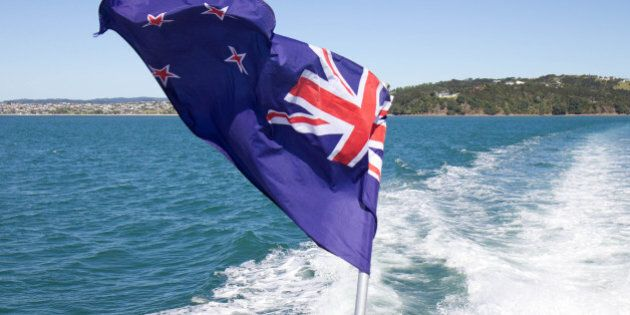 Difficult to photograph flapping around at speed on a boat! New Zealand flag includes Union Jack to show we are part of British Commonwealth.