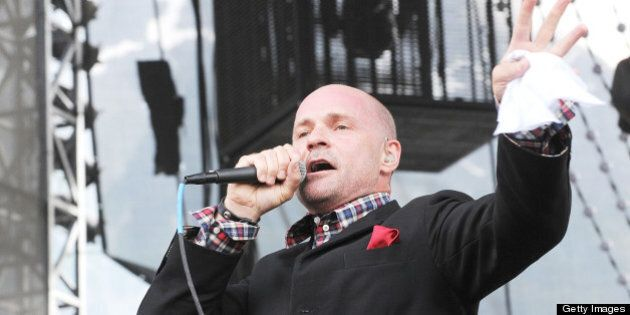 PEMBERTON, CANADA - JULY 26:  Vocalist Gordon Downie of The Tragically Hip performs on day two of the 2008 Pemberton Music Festival on July 26, 2008 in Pemberton, British Columbia, Canada.  (Photo by C Flanigan/WireImage)
