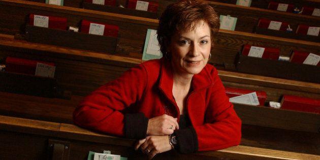 VOSPER 11/20/04 TORONTO, Ontario, Rev Gretta Vosper at West Hill United Church Sitting in the pews (Photo...