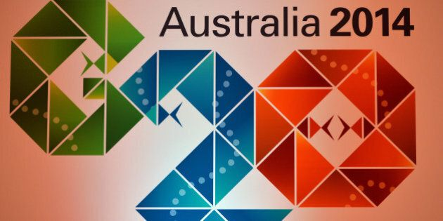 The Logo of the G20 Australia 2014 at the press conference room during the G20 Finance Ministers and...